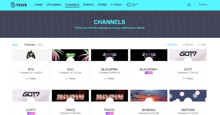 Vlive Channels