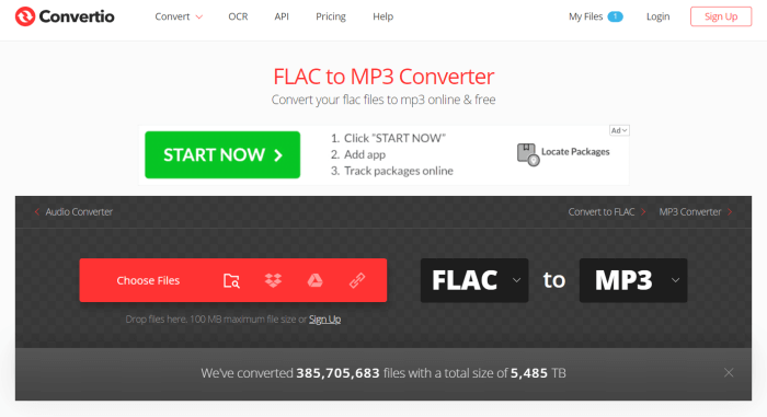 Add FLAC File to Convertio