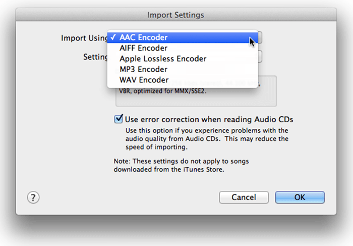 Import Settings Select MP3