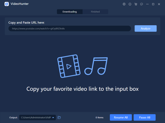 Paste Frozen 2 Song URL to VideoHunter